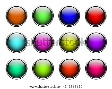 set of buttons on a white background