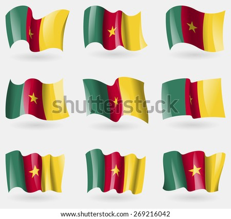 Set of cameroon flags in the air.  illustration - stock photo