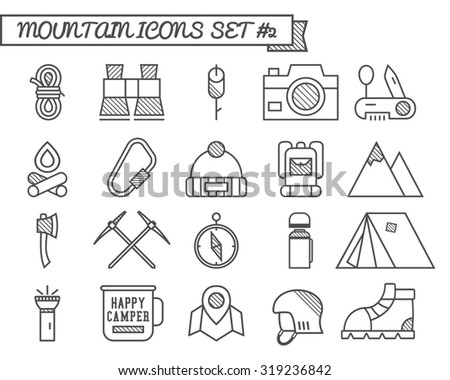 Set of Camp, travel icons, thin line style, flat design. Mountain and climbing theme with touristic tent, axe and other equipment and elements. Isolated on white background. illustration - stock photo