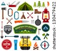 Set of camping equipment symbols and icons - stock photo