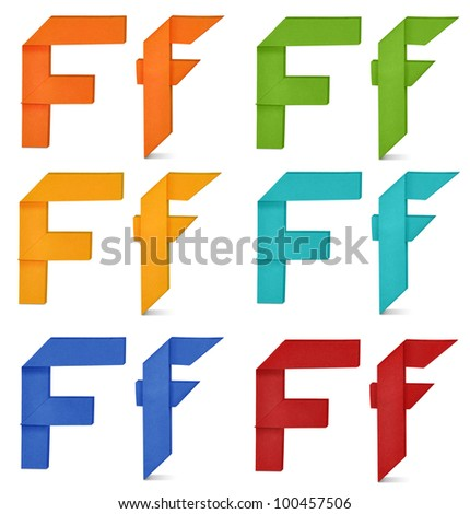 """Set of capital letter and lowercase letter """"F"""" in various color. Origami alphabet  letter  on white background. - stock photo"""