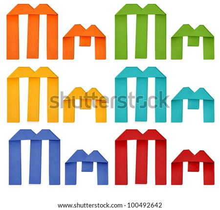"""Set of capital letter and lowercase letter """"M"""" in various color. Origami alphabet  letter  on white background. - stock photo"""