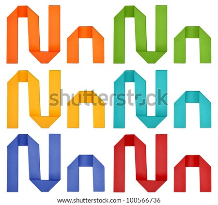 """Set of capital letter and lowercase letter """"N"""" in various color. Origami alphabet  letter  on white background. - stock photo"""