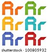 "Set of capital letter and lowercase letter ""R"" in various color. Origami alphabet  letter  on white background. - stock photo"
