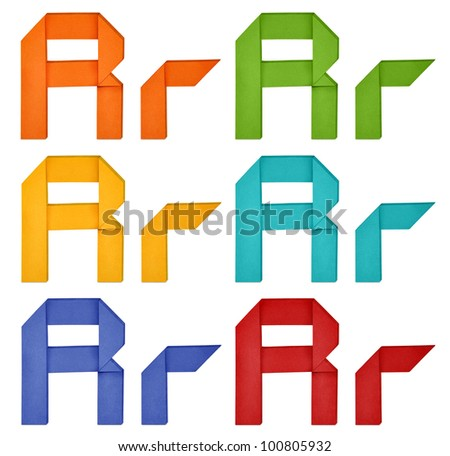 """Set of capital letter and lowercase letter """"R"""" in various color. Origami alphabet  letter  on white background. - stock photo"""