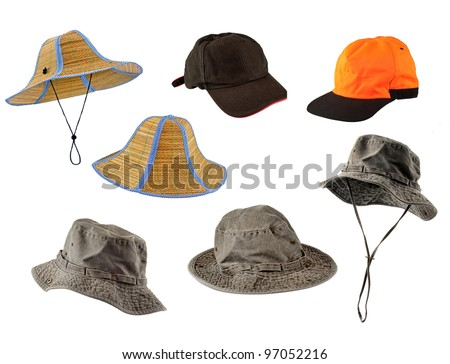 Set of caps and hats isolated on white background - stock photo