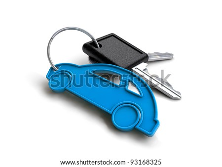 Set of car keys with a little blue car icon key ring isolated on a white background. Concept for owning or buying a new or pre-owned second hand car or car rentals, leasing a car or insuring your car. - stock photo