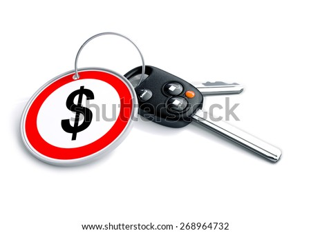 Set of car keys with keyring and US dollar currency symbol. Concept for US car prices, buyer or selling a vehicle in the United States. - stock photo