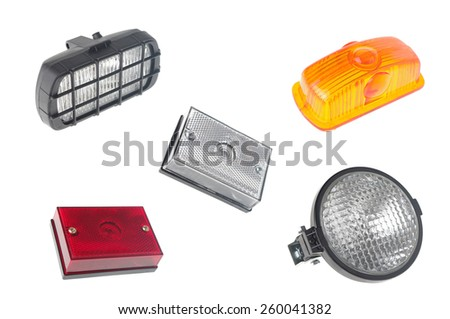 set of car lights isolated on white  - stock photo