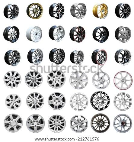 Set of car wheel disks, isolated on white background - stock photo