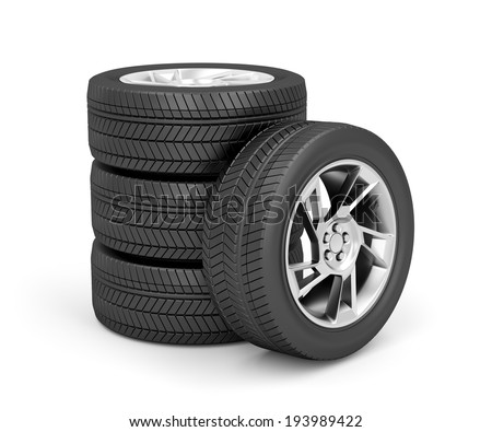 Set of car wheels on white background - stock photo