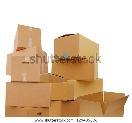 Set of cardboard boxes, isolated white background - stock photo