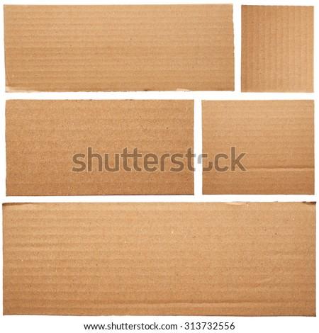 Set of cardboard isolated on white background - stock photo