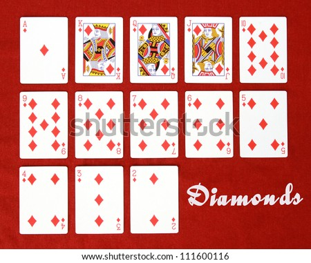 Set of Cards...All the Diamonds! - stock photo