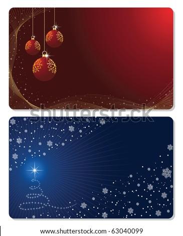 Set of cards with Christmas tree, Christmas balls stars and snowflakes, illustration - stock photo