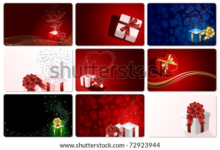Set of cards with Presents, illustration - stock photo
