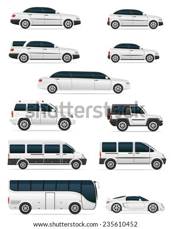 set of cars for the transportation passengers illustration isolated on white background - stock photo