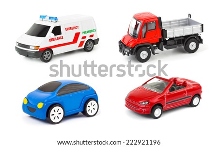 Set of cars isolated on white background - stock photo