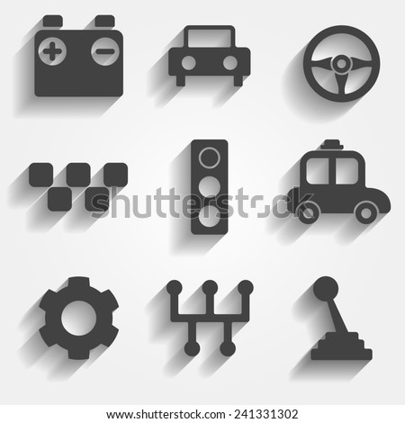 Set of 9 cars web and mobile icons in flat design. Symbols of gear, gearbox, traffic light, steering wheel, cars, battery, stick shift. - stock photo