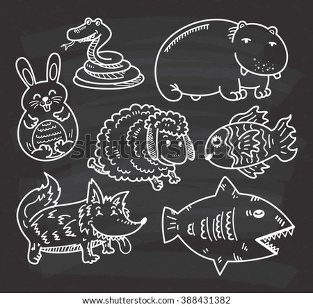 set of cartoon animal on chalkboard background - stock photo