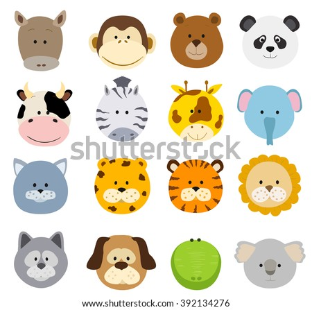 Set of cartoon animals faces. Collection of cute jungle and other baby animal faces. raster - stock photo