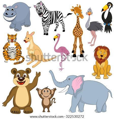 Set of 12 Cartoon Animals. Ready For Use in Zoo Theme. - stock photo