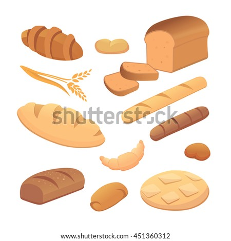 Set of cartoon bread