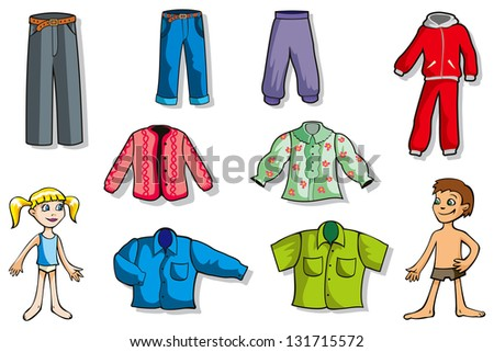Set of cartoon clothes for girl and boy, hi-res raster from vector illustration - stock photo