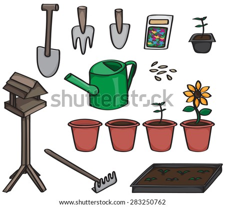 Set of 14 cartoon gardening tools.