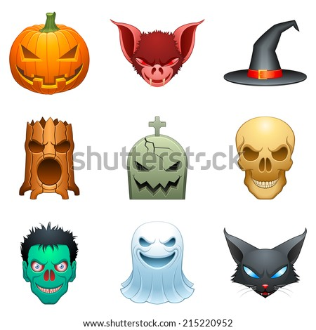 Set of 9 cartoon halloween characters.