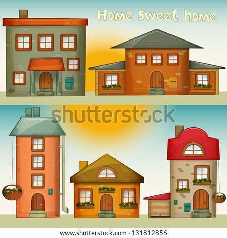 Set of Cartoon Houses. Sweet Home - hand lettering. JPEG version. - stock photo
