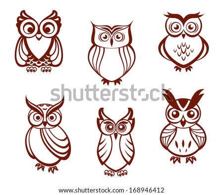 Set of cartoon owls for wisdom or education concept design or logo idea. All birds are isolated on white background. Vector version also available in gallery - stock photo