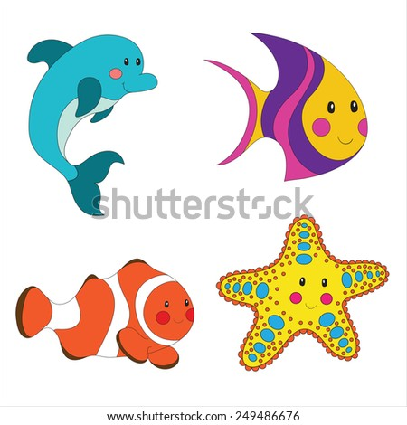 Set of cartoon sea creatures isolated on white. - stock photo