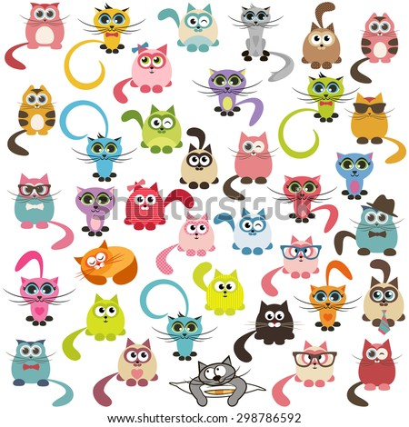 Set of cats and kittens. Raster version - stock photo