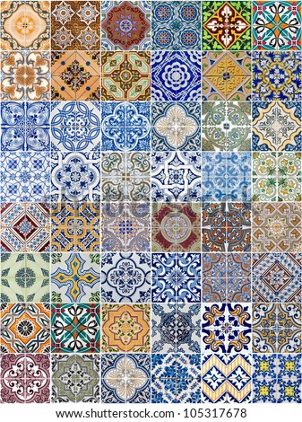 Set of 48 ceramic tiles patterns from Portugal.