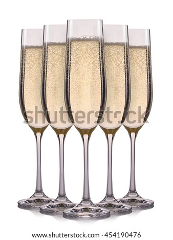 Set of champagne glasses with bubbles isolated on a white background. - stock photo