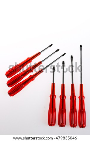 Set of cheap screwdriver isolated on white