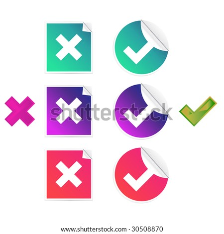 Set of check and crosses stickers isolated on a white background - stock photo