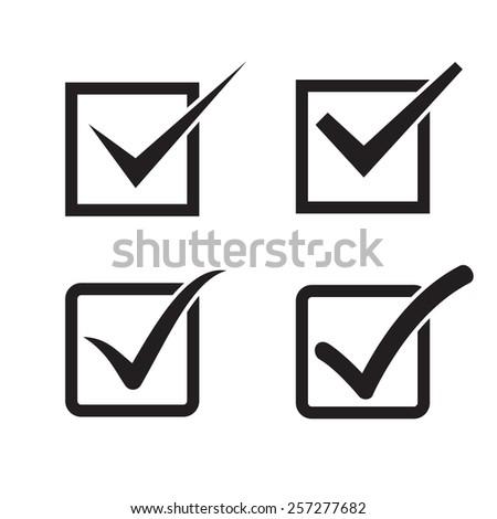 Set of check mark, check box icons - stock photo