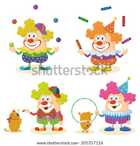 Set of cheerful kind circus clowns in colorful clothes juggling balls and candies and training dogs, holiday illustration, funny cartoon characters, isolated on white background. - stock photo