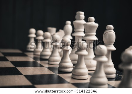 set of chess pieces on background