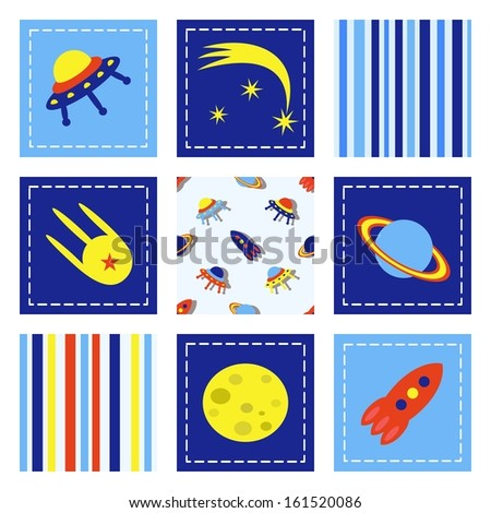 set of child cosmos decor elements, raster version - stock photo