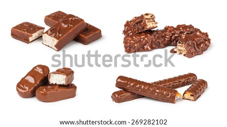 set of chocolate bar isolated on white - stock photo