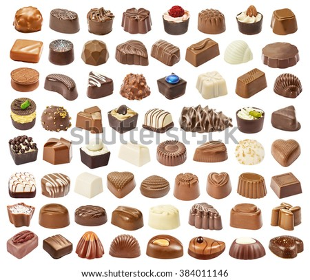 Set of chocolate candie, chocolate collection isolated on white