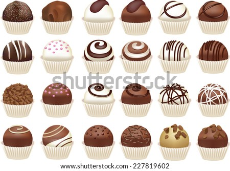 Set of chocolate candies - stock photo