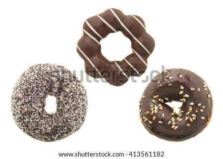 set of chocolate donut isolated on white background