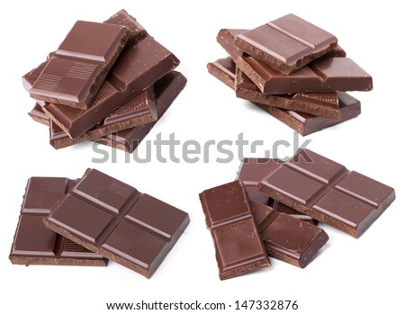 Set of Chocolate Pieces Isolated on White