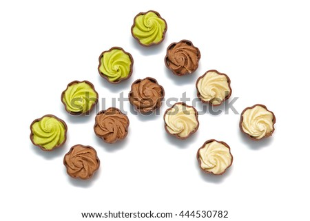 set of chocolates on a white background - stock photo