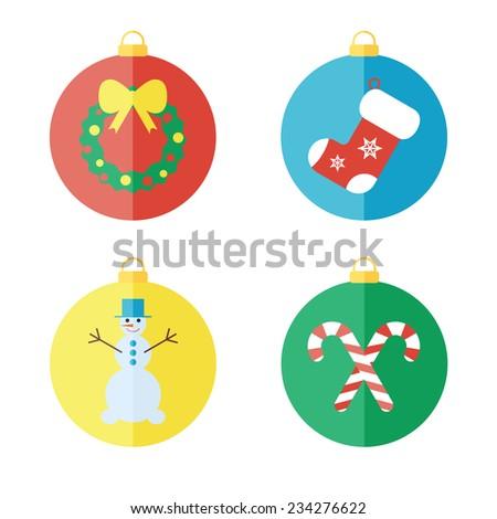 Set of Christmas and New Year icons, flat icons. Christmas balls - stock photo