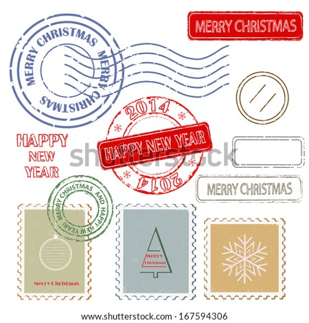Set of Christmas and New Year stamps.